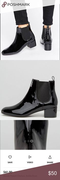 Chelsea Ankle Boot (Patent/Black) *Never worn* Purchased from ASOS  Patent faux-leather upper Elasticated inserts Back tab Round toe Block kitten heel Patent faux-leather upper Shoes Ankle Boots & Booties