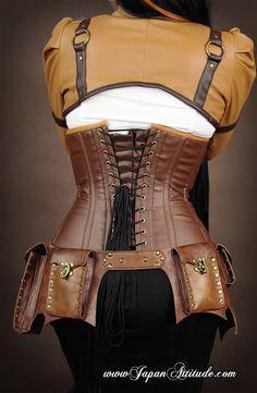 Serre taille corset Steampunk Militaire avec sangles amovibles et baleines en métal                                                                                                                                                                                 Plus