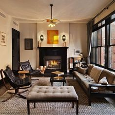 Terrific masculine interiors by Roman and Williams in this NYC apartment.Does this mean I like masculine things? This is my inspiration living room for our new place. Masculine Living Rooms, Masculine Interior, Home Living Room, Living Spaces, Estilo Hipster, Roman And Williams, Best Interior, Apartment Design, Interiores Design