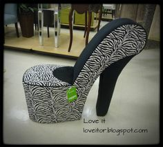 Sexy Zebra Stiletto Chair  Shoe Chair   High Heel Chair  Wordless Wednesday   HomeGoods