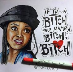 Yo mama's a bitch Black Cartoon Characters, Black Girl Cartoon, Dope Cartoon Art, Black Love Art, Black Girl Art, Art Girl, Black Tv, Black Art Pictures, Hip Hop Art