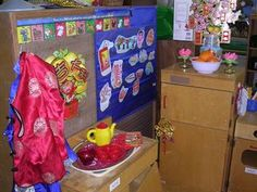 I did them all around a community theme. It's like our room was a little city!   Here's a shot of the home center. It's dressed up for the Lunar New Year. Our centers often changed throughout the year. Notice all of the environmental print I have up. Although these centers were fun, fun, fun...I wanted them to be rich in language and vocabulary!