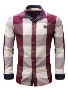 Men's Turn-Down Collar Plaid Pattern Long Sleeve Shirt - RED L