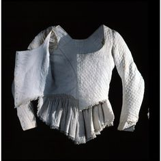 This quilted cotton maternity jacket is part of three matching pieces in the Colonial Williamsburg collection. It dates from between 1780 and 1795, and is the only maternity related fashion currently held in the collection.