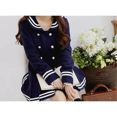 Sailor-Collar Piped Coatdress from #YesStyle <3 Sechuna YesStyle.com