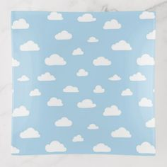 #White Cartoon Clouds on Light Blue Background Patt Trinket Trays - #cute #gifts #cool #giftideas #custom