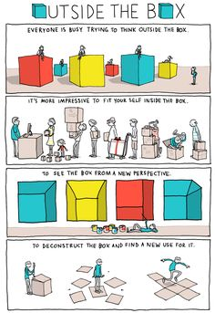 -via INCIDENTAL COMICS Words and Pictures by Grant Snider: If you are often told to 'think outside the box', you may wish to consider these images created and designed by Grant Snider. Servant Leadership, Leadership Quotes, Writing Tips, Writing Prompts, Writing Humor, Art Doodle, Life Comics, Fun Comics, Thinking Outside The Box