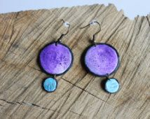 Colorful fimo earrings -- Painted acrylic purple and azure with glaze on polymer clay // Fimo jewelry