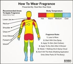 """How to Wear Fragrance -- this is one graphic in a post on the post """"Introduction To Fragrance, Cologne, Toilete & Perfume   Why & How To Wear Fragrances"""" by Real Men Real Style. It has some good tips."""