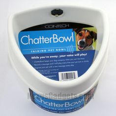 ChatterBowl Dog Bowl.  Does your dog miss you while you're gone?  Keep him entertained and relaxed by hearing your voice every time he crosses his bowl. $16.95 #NexusGadgets