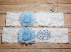 Monogrammed Garter, Monogram, Personalized Garter, Custom Garter, Blue Garter, Something Blue, Garter, Wedding Garter, Wedding Initials by BloomsandBlessings on Etsy