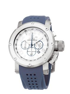 #MaxXLWatches Reference: 5-max514 Sports               Movement: Quartz movement             Diameter: 42 mm                                      Water rsistence: 100m                               Description: Stainless steel case, mineral glass, chronograph, date, White  dial.                                               Strap: Blue rubber/Silicon. Available at www.chronowatchcompany.com