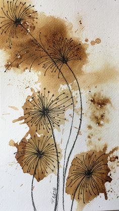 Make a wish Patti Nash 2017 - Trend Disney Stuff 2019 Abstract Watercolor, Watercolor And Ink, Watercolor Flowers, Watercolor Paintings, Watercolors, Coffee Painting, Ink Painting, Art Floral, Art Drawings
