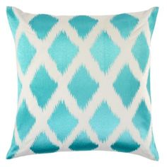 Beautiful! Love the turquoise, other colors are available.  Diamond Ikat Pillow 24 - Aquamarine from Z Gallerie