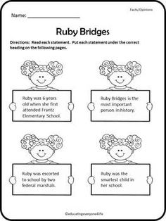 Ruby Bridges | Reading comprehension, Graphic organizers and ...