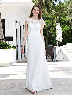 A-line Scoop Sweep/Brush Train Chiffon And Tulle Wedding Dre... – CAD $ 178.65