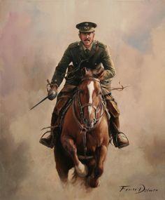 Teniente coronel Fernando Primo de Rivera. Regimiento Alcántara 14. Pintura de Augusto Ferrer-Dalmau