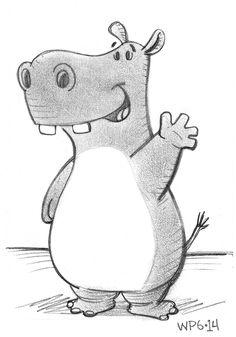 Happy Hippo Says Hello - Sketch by Will Petrey, via Behance