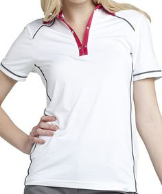 Look what I found on #zulily! White & Crimson Taylor Zip-Up Polo by GGblue #zulilyfinds