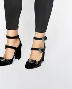 Black velvet T-strap pumps - WOMAN