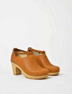 No. 6 Shoes classic leather high heel clog at Bird : ShopBird.com