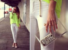 light green shirt top white pants fashion style moda http://www.womans-heaven.com/light-green-top-white-pants-fashion-wear/