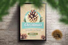 Retro Christmas Party Flyer PSD by shaman on @creativemarket