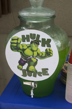 "Love! Maybe call it Hulk Smash? And do a grape/orange mix so it makes black and call it ""Dark Knight""? I'm on a roll!! o! Maybe fruit punch and call it ""ka-pow"" punch?"