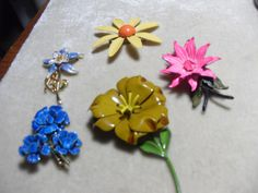 Enamel flower brooches Rafael and more FIVE by GingersLittleGems