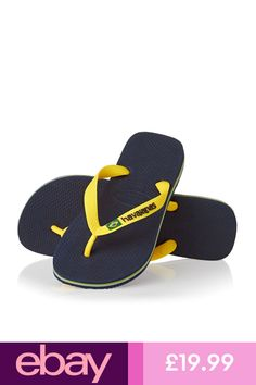 9efcf018c190ae GENUINE 2019 Havaianas Flip Flops Brazil LOGO NAVY YELLOW Thongs Sandals