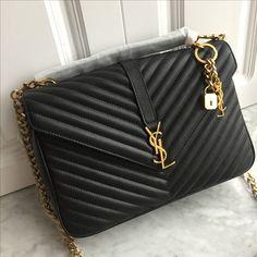 One large exterior zipper pocket. Ysl College, College Bags, Ysl Bag, Chanel Boy Bag, Luxury Handbags, Designer Handbags, Designer Bags, Everything Designer, Ysl Saint Laurent