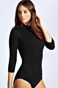 Ella High Neck 3/4 Sleeve Bodysuit at boohoo.com