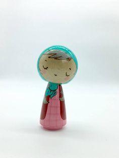 Teal scarf and pink dress kokeshi doll peg doll wood doll