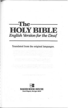 Easy to Read Version - Deaf Bible Title, AWESOME!