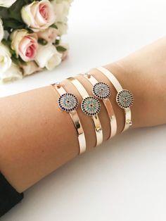 a496c581428 Evil eye bracelet, cuff bracelet, evil eye bangle bracelet, round evil eye  bead, rose gold bracelet, evil eye jewelry, gold bangles, cuff