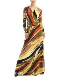 This Brown & Tan Stripe Maxi Wrap Dress - Women by Zac Studio is sexy, sexy & more sexy @ zulilyfinds