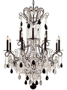 Empress Chandelier with black and clear crystals