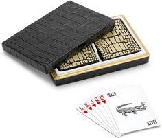 L'Objet - Black Croc Playing Cards - Set of 2, gifts for men, gifts for him, gifts for boyfriend, gifts for father, gifts for dad