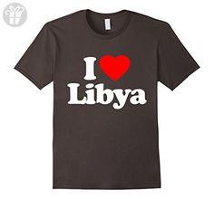 Mens I Love Heart Libya Funny T-Shirt XL Asphalt - Funny shirts (*Amazon Partner-Link)