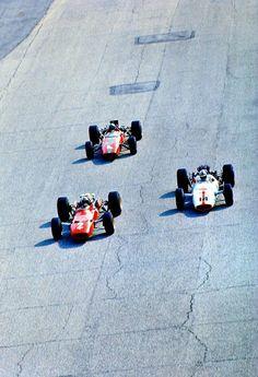 """frenchcurious: """"Chris Amon (Ferrari 312) suivi par le vainqueur, John Surtees (Honda RA300) & Bruce McLaren (McLaren-BRM) Grand Prix d'Italie - Monza 1967 - UK Racing History. """""""