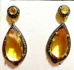Pendientes de #citrino con #diamante talla antigua, #oro y #plata - 600€
