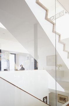 Glass encased stairs;
