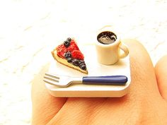 Cute Coffee Ring Berry Pie Miniature Food Ring