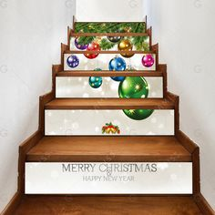 6 Pieces Christmas Small Bells Print Home Stairs Stickers Stair Stickers, Wall Stickers, House Stairs, Christmas Decorations, Merry, Decorating, Home, Xmas, Wall Clings