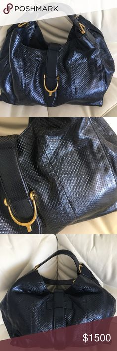a7e0451c00b Authentic snake skin Gucci bag Navy blue Authentic GUCCI bag Like new  barely used Snake skin