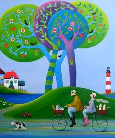 "Buy Prints of Let Us Go Fishing!, SOLD, a Acrylic on Canvas by Iwona Lifsches from Denmark. It portrays: Bicycle, relevant to: bike, seaside, trees, light house, cats, couple, fishing, nature From serie of paintings ""Frederik's Daily Issues"""
