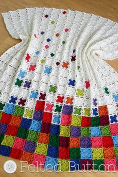 Crochet Pattern Rainbow Sprinkles Blanket Afghan by FeltedButton...could become a tetris pattern or noughts and crosses
