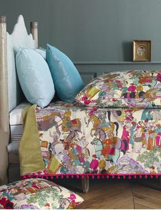 Fabulous, colorful duvet and shams in a Chinoiserie Chic style