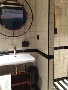 Retro 1920s bathroom at the Haymarket by Scandic Hotel in central Stockholm, Sweden.