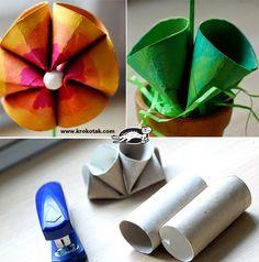 Mundinho da Criança - Atividades para Educação Infantil: Flores feitas com rolo de papel higiênico para a primavera - Reciclagem
